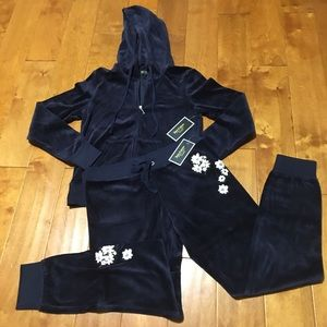 Juicy Couture floral embroidered pant & hoodie S